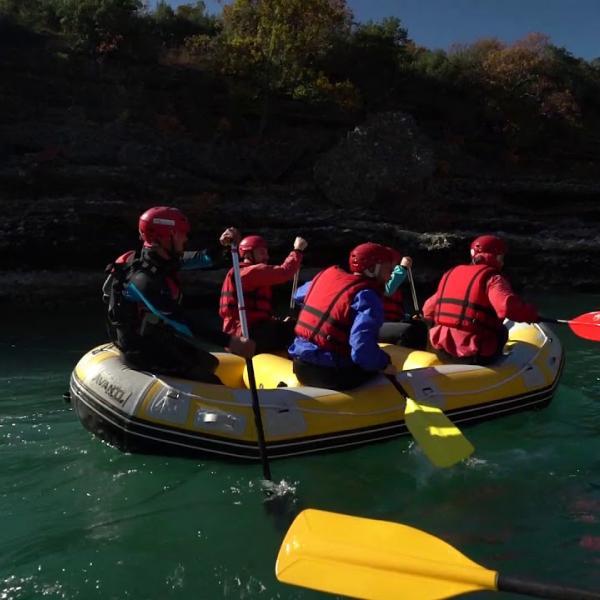 Rafting in Vjosa river,the last wild river in Albania